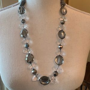 Stella & Dot crystal necklace with ribbon tie